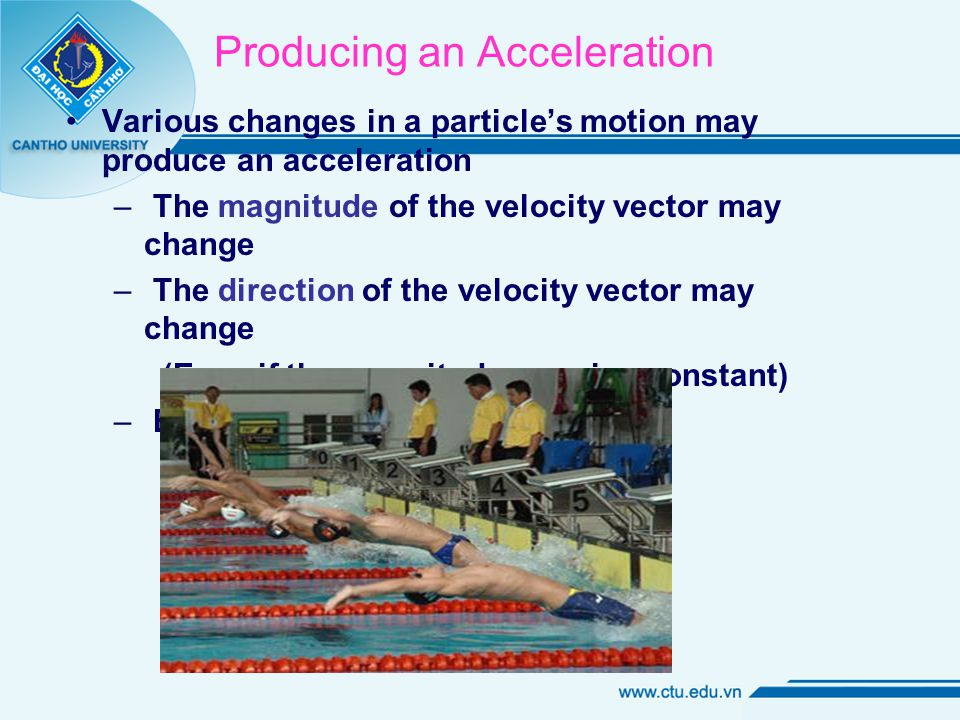 Producing an Acceleration Various changes in a particle's motion may produce an acceleration – The magnitude of the velocity vector may change – The direction of the velocity vector may change (Even if the magnitude remains constant) – Both may change simultaneously