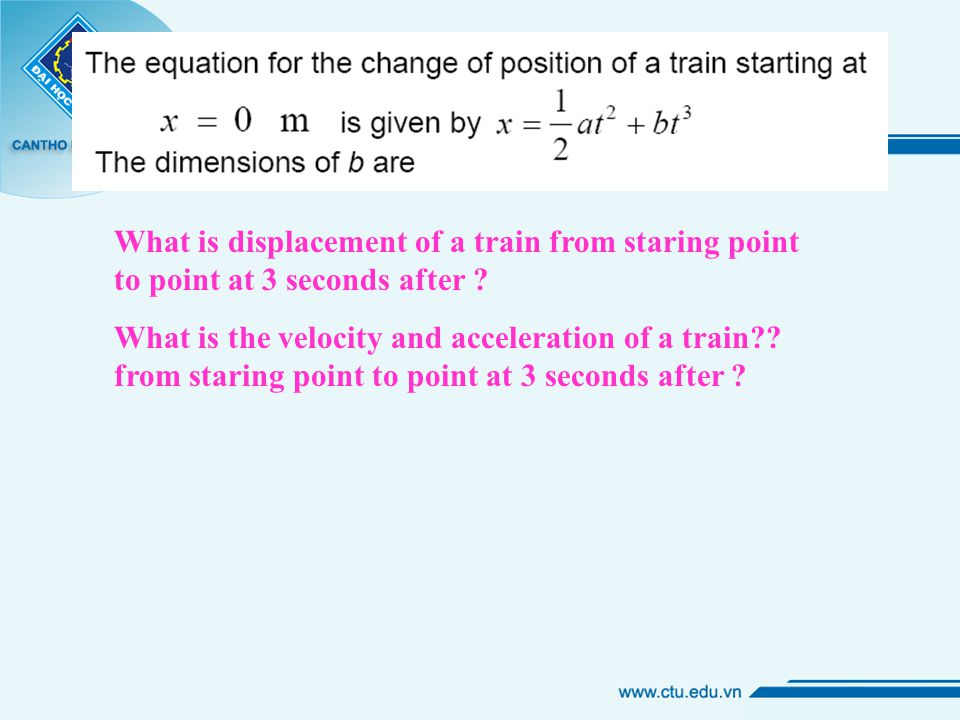 What is displacement of a train from staring point to point at 3 seconds after .