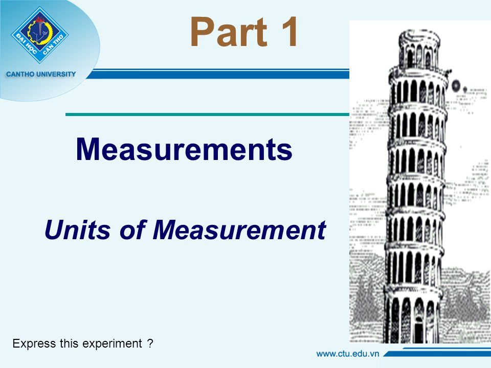 Part 1 Measurements Units of Measurement Express this experiment