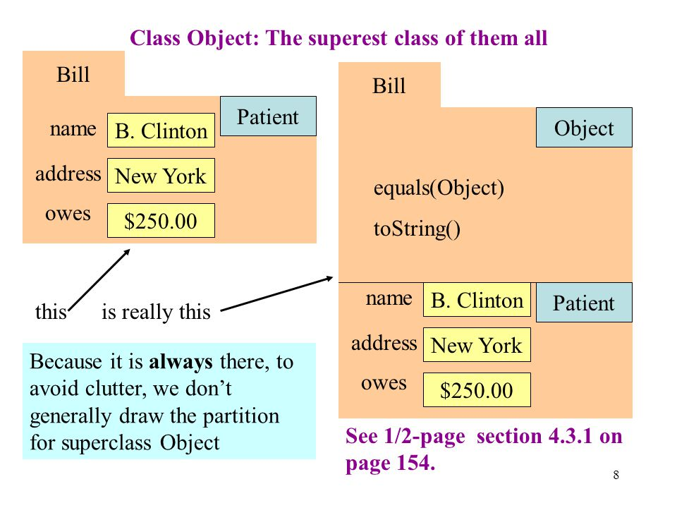 8 Class Object: The superest class of them all Bill Patient name B.