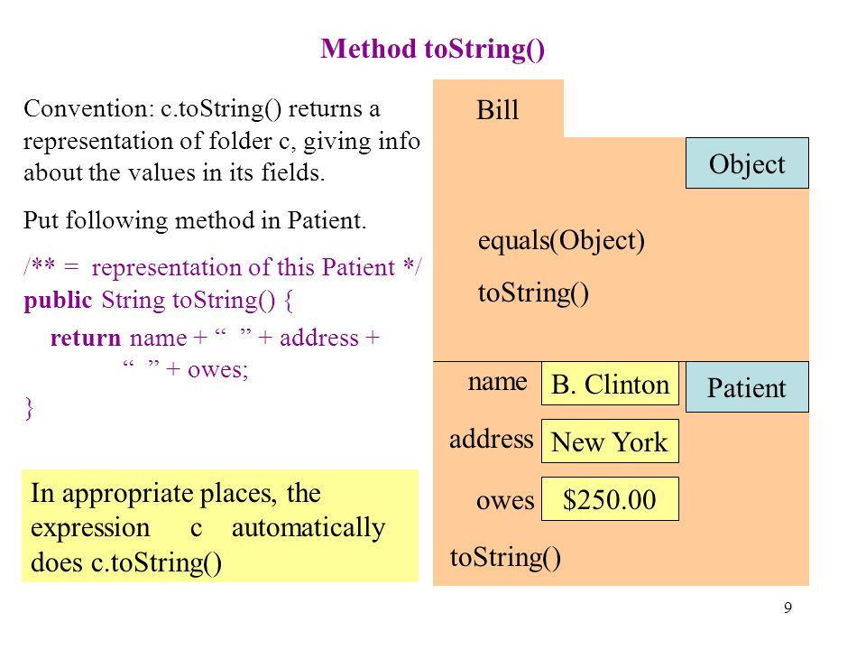 9 Method toString() Bill Patient name B.