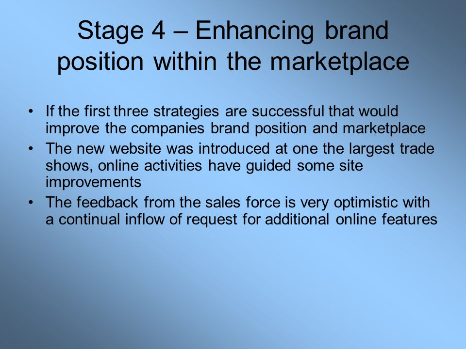 Stage 4 – Enhancing brand position within the marketplace If the first three strategies are successful that would improve the companies brand position and marketplace The new website was introduced at one the largest trade shows, online activities have guided some site improvements The feedback from the sales force is very optimistic with a continual inflow of request for additional online features
