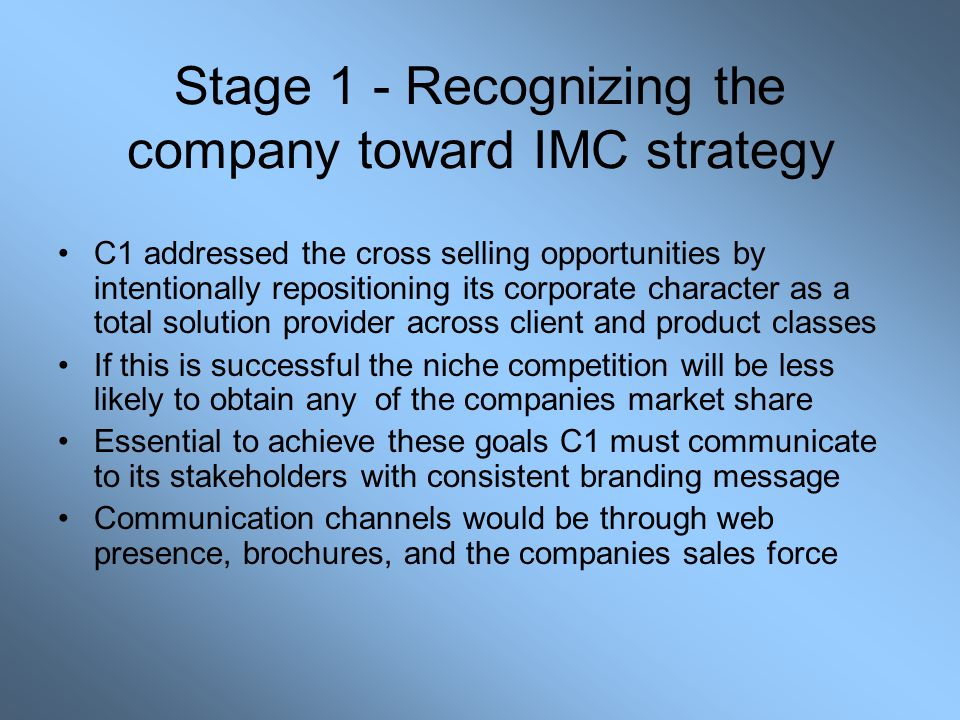 Stage 1 - Recognizing the company toward IMC strategy C1 addressed the cross selling opportunities by intentionally repositioning its corporate charac