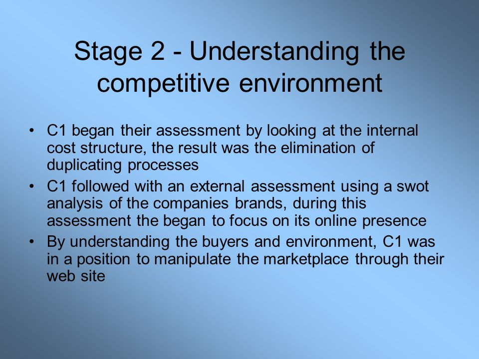 Stage 2 - Understanding the competitive environment C1 began their assessment by looking at the internal cost structure, the result was the elimination of duplicating processes C1 followed with an external assessment using a swot analysis of the companies brands, during this assessment the began to focus on its online presence By understanding the buyers and environment, C1 was in a position to manipulate the marketplace through their web site