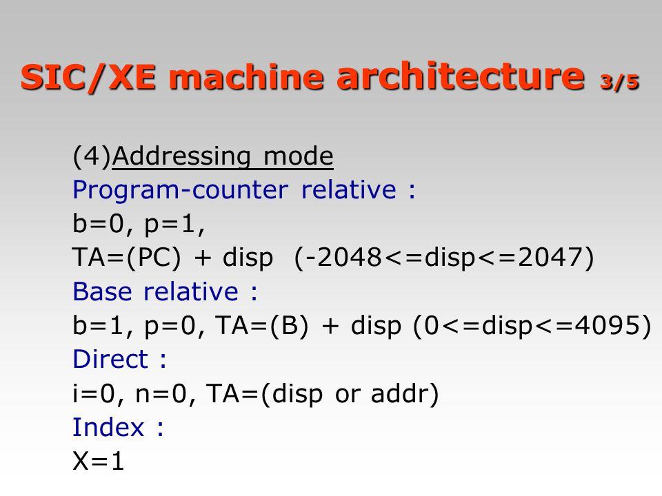 (4)Addressing mode Program-counter relative : b=0, p=1, TA=(PC) + disp (-2048<=disp<=2047) Base relative : b=1, p=0, TA=(B) + disp (0<=disp<=4095) Dir