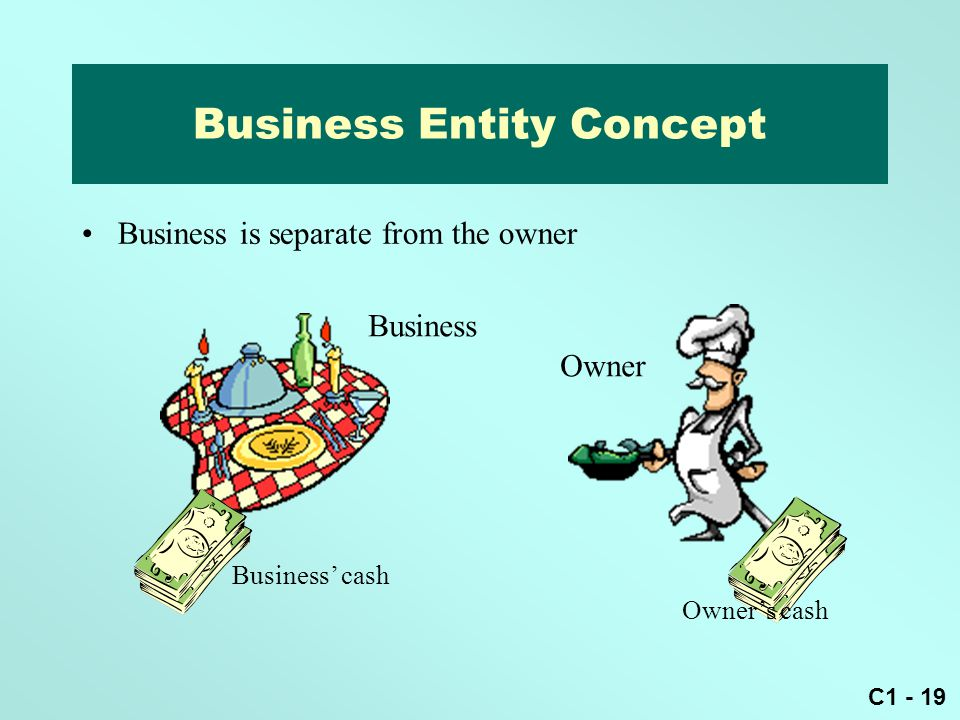 C1 - 19 Business Entity Concept Business Owner Business' cash Business is separate from the owner Owner's cash