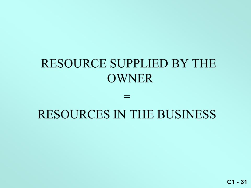 C1 - 31 RESOURCE SUPPLIED BY THE OWNER = RESOURCES IN THE BUSINESS