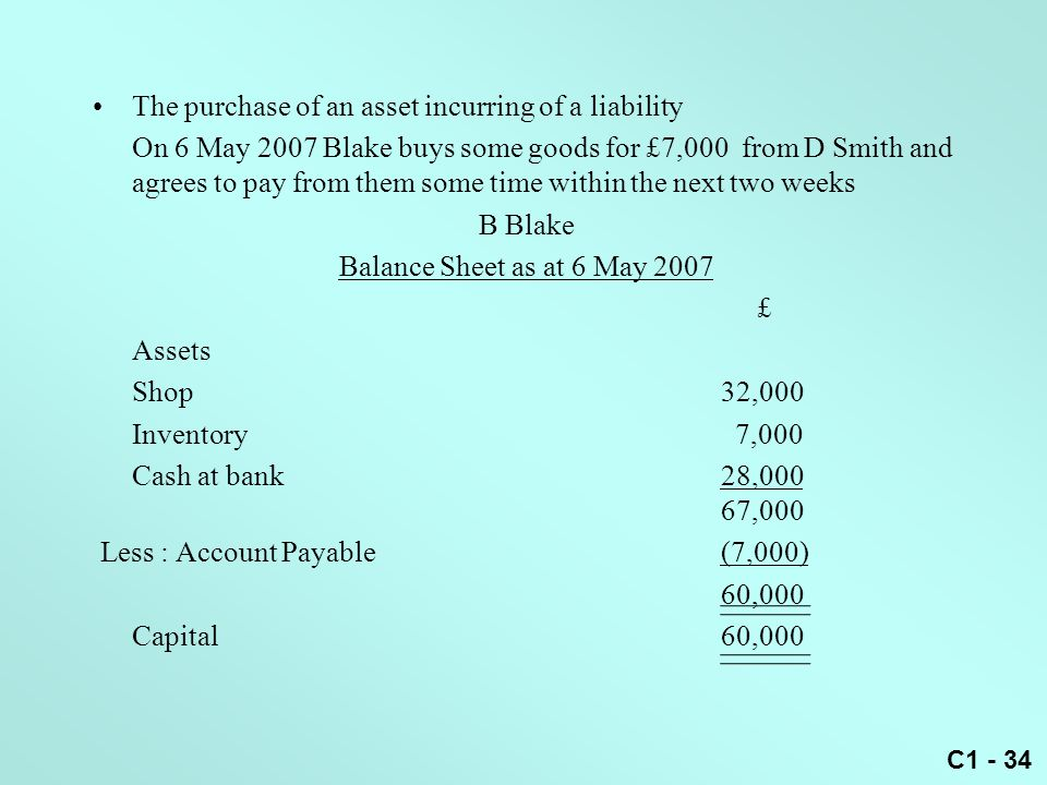 C1 - 34 The purchase of an asset incurring of a liability On 6 May 2007 Blake buys some goods for £7,000 from D Smith and agrees to pay from them some