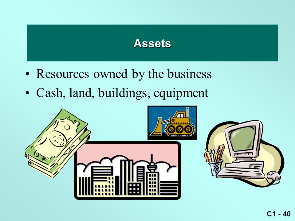 C1 - 40 Asset Resources owned by the business Cash, land, buildings, equipment Assets