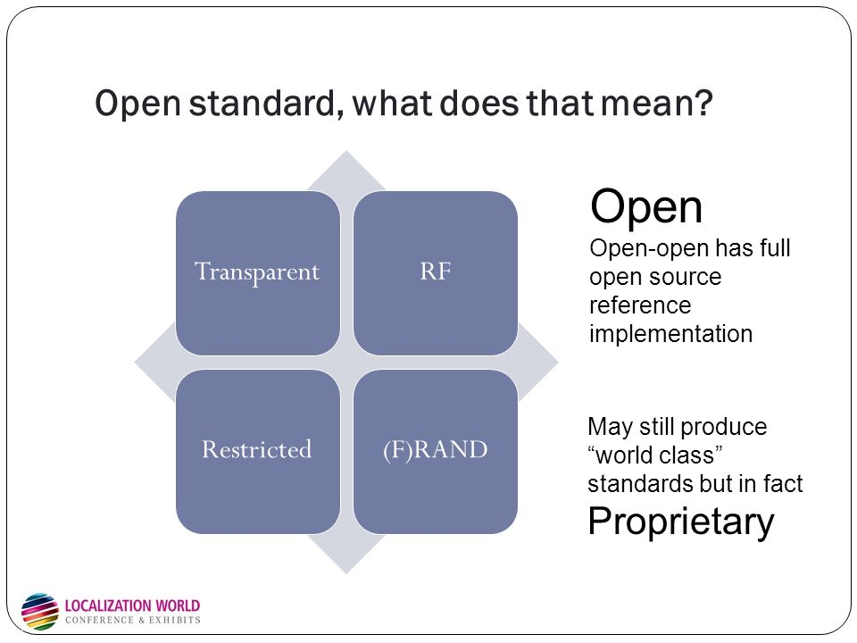Open standard, what does that mean.