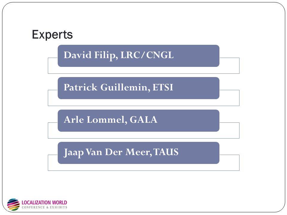 Experts David Filip, LRC/CNGLPatrick Guillemin, ETSIArle Lommel, GALAJaap Van Der Meer, TAUS