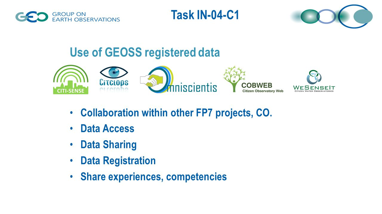 Task IN-04-C1 Use of GEOSS registered data Collaboration within other FP7 projects, CO. Data Access Data Sharing Data Registration Share experiences,