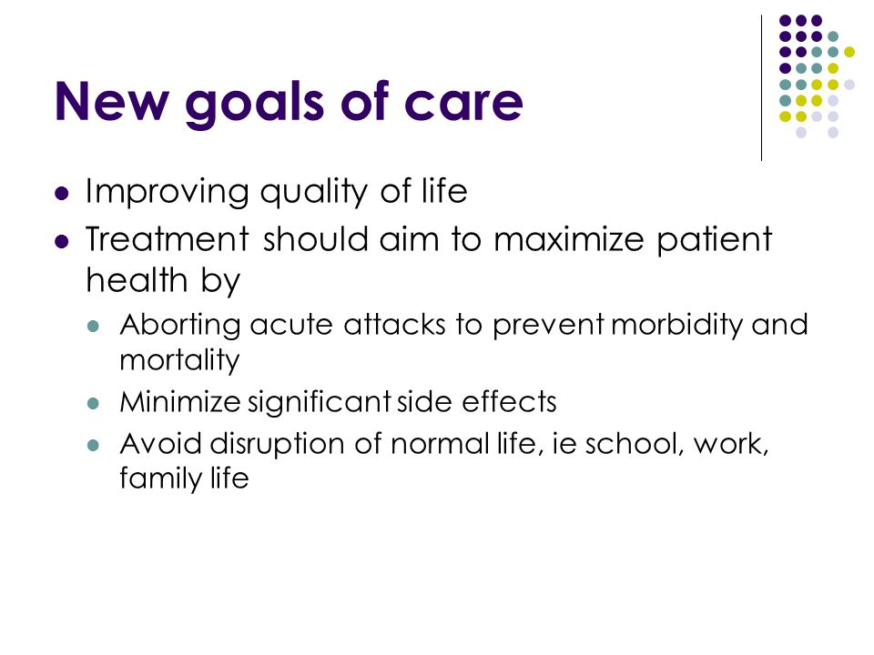 New goals of care Improving quality of life Treatment should aim to maximize patient health by Aborting acute attacks to prevent morbidity and mortali