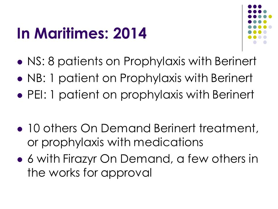 In Maritimes: 2014 NS: 8 patients on Prophylaxis with Berinert NB: 1 patient on Prophylaxis with Berinert PEI: 1 patient on prophylaxis with Berinert
