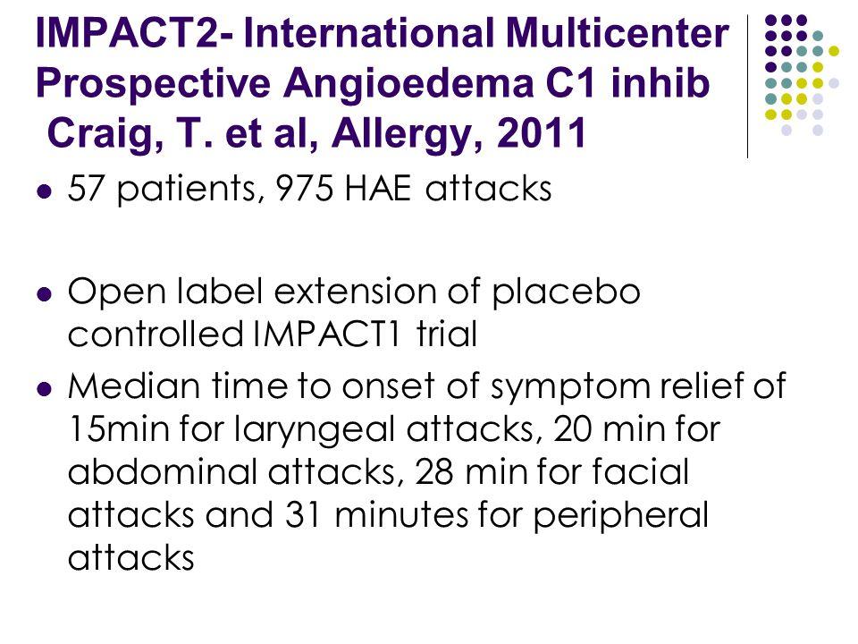IMPACT2- International Multicenter Prospective Angioedema C1 inhib Craig, T. et al, Allergy, 2011 57 patients, 975 HAE attacks Open label extension of