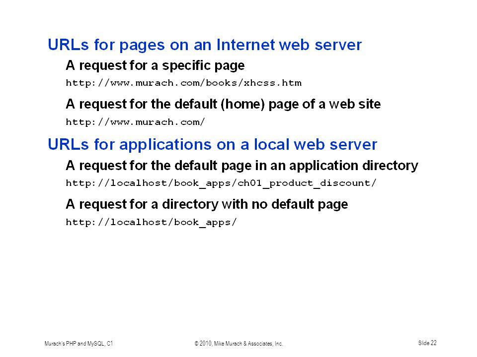 Murach s PHP and MySQL, C1© 2010, Mike Murach & Associates, Inc.Slide 22