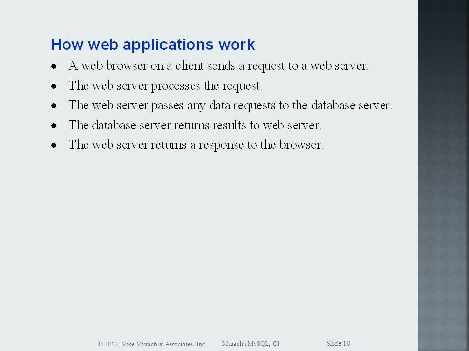 Murach s MySQL, C1 © 2012, Mike Murach & Associates, Inc. Slide 10