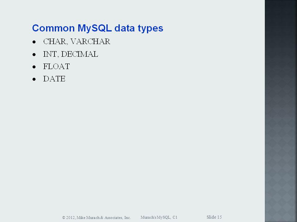 Murach s MySQL, C1 © 2012, Mike Murach & Associates, Inc. Slide 15