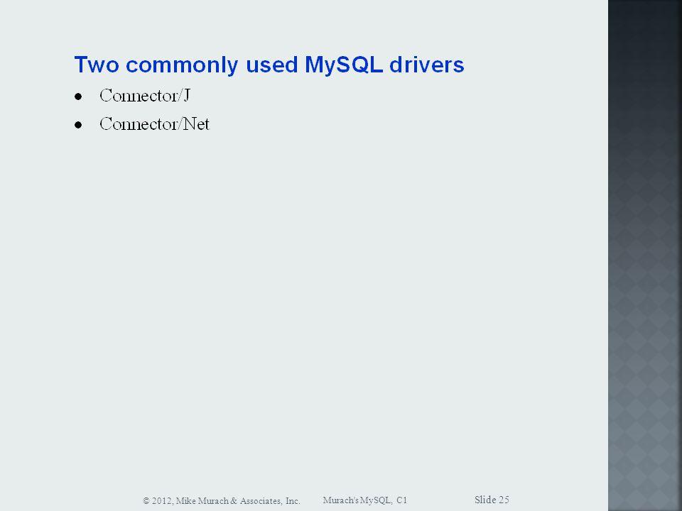 Murach s MySQL, C1 © 2012, Mike Murach & Associates, Inc. Slide 25