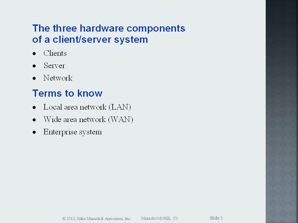 Murach s MySQL, C1 © 2012, Mike Murach & Associates, Inc. Slide 3
