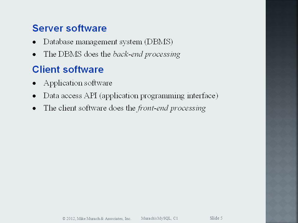 Murach s MySQL, C1 © 2012, Mike Murach & Associates, Inc. Slide 5