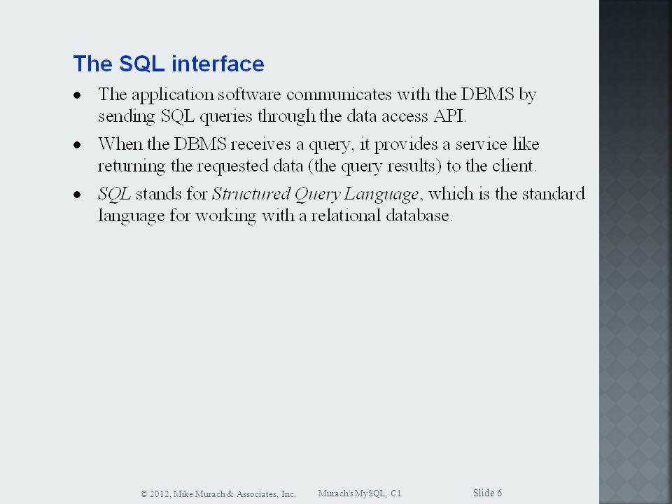 Murach s MySQL, C1 © 2012, Mike Murach & Associates, Inc. Slide 6