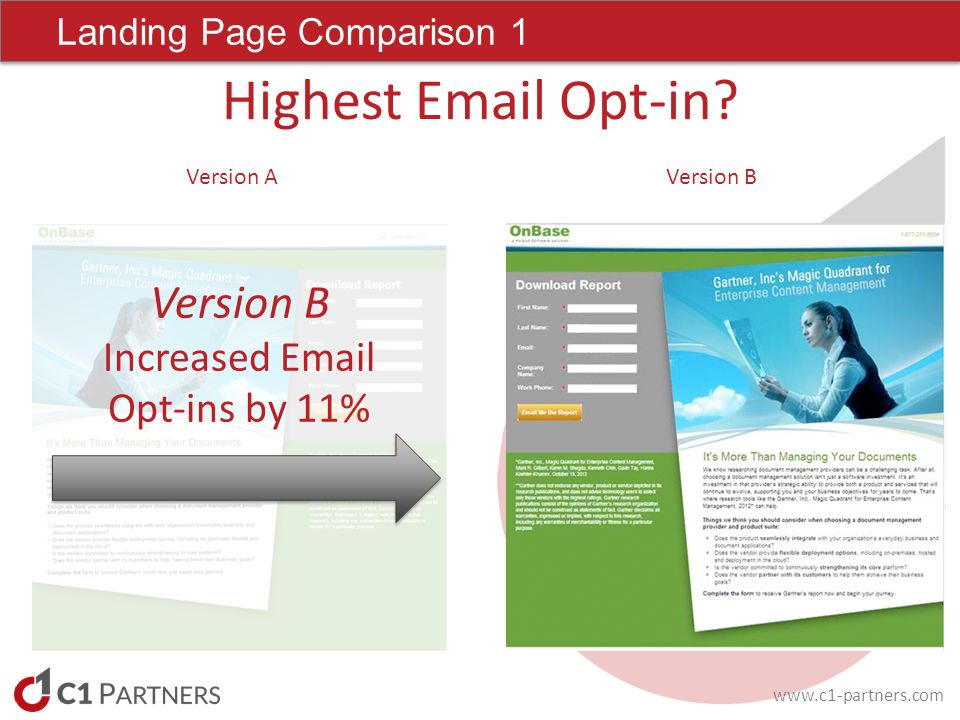 www.c1-partners.com Landing Page Comparison 1 Highest Email Opt-in.