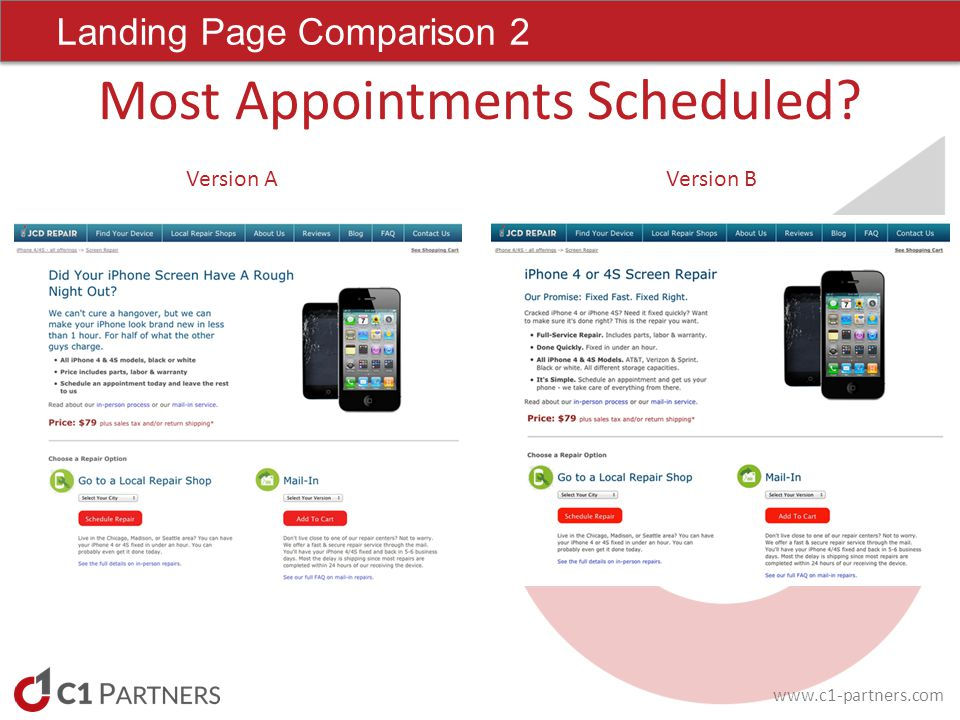 Landing Page Comparison 2 Most Appointments Scheduled Version AVersion B