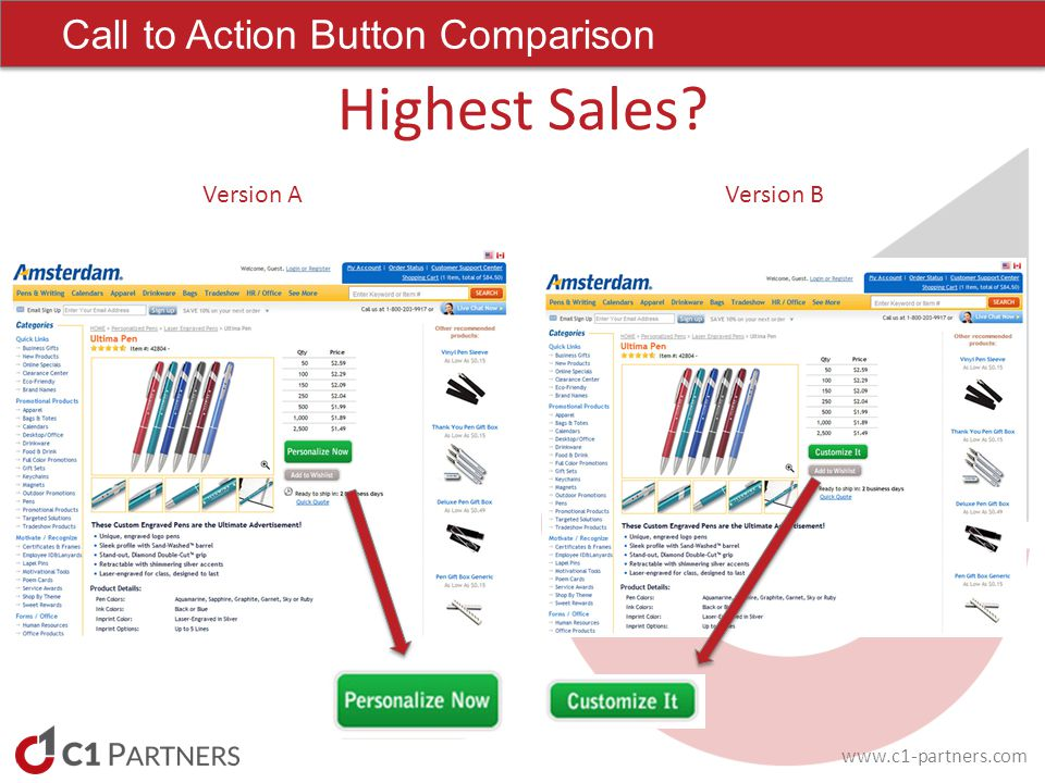 Call to Action Button Comparison Highest Sales Version AVersion B