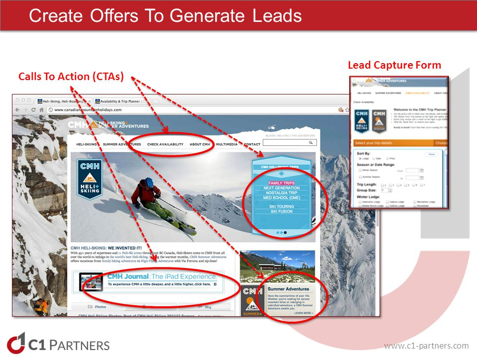 www.c1-partners.com Create Offers To Generate Leads Calls To Action (CTAs) Lead Capture Form