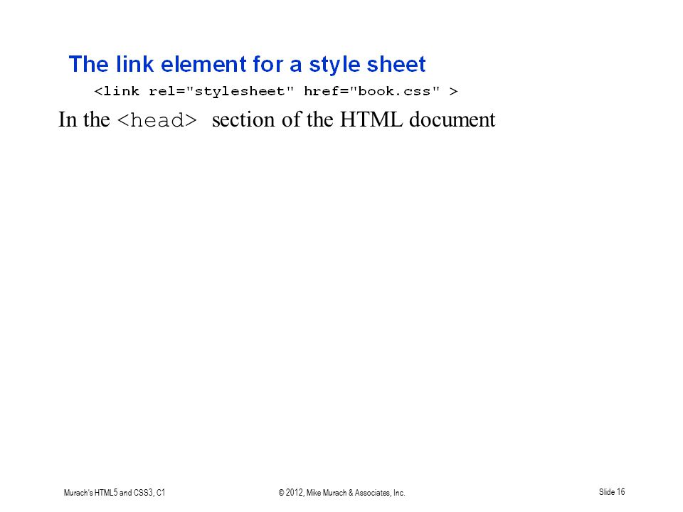 Murach's HTML5 and CSS3, C1© 2012, Mike Murach & Associates, Inc.Slide 16 In the section of the HTML document