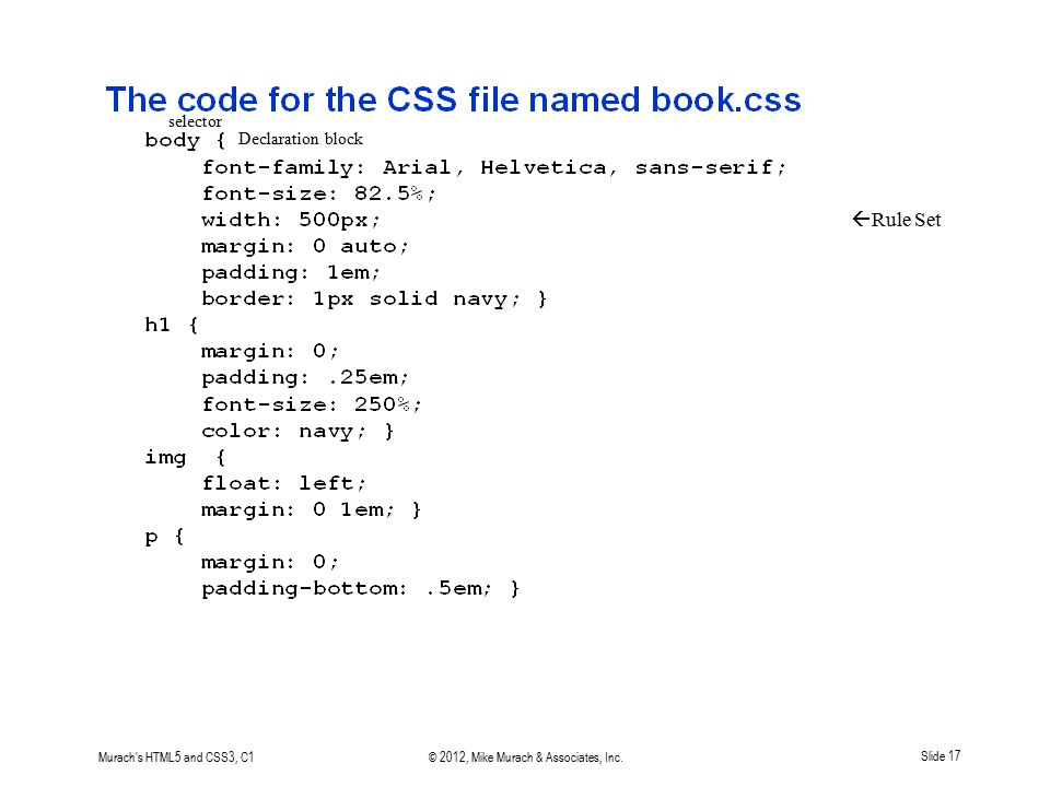 Murach's HTML5 and CSS3, C1© 2012, Mike Murach & Associates, Inc.Slide 17  Rule Set selector Declaration block