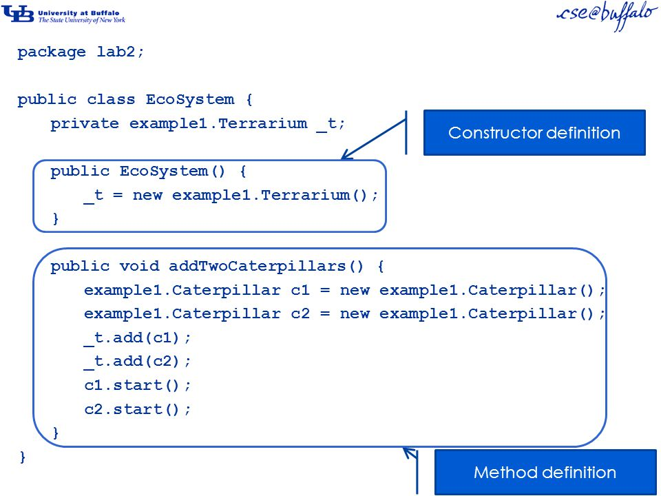 package lab2; public class EcoSystem { private example1.Terrarium _t; public EcoSystem() { _t = new example1.Terrarium(); } public void addTwoCaterpillars() { example1.Caterpillar c1 = new example1.Caterpillar(); example1.Caterpillar c2 = new example1.Caterpillar(); _t.add(c1); _t.add(c2); c1.start(); c2.start(); } Constructor definition Method definition