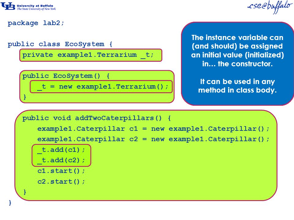 package lab2; public class EcoSystem { private example1.Terrarium _t; public EcoSystem() { _t = new example1.Terrarium(); } public void addTwoCaterpillars() { example1.Caterpillar c1 = new example1.Caterpillar(); example1.Caterpillar c2 = new example1.Caterpillar(); _t.add(c1); _t.add(c2); c1.start(); c2.start(); } The scope of an instance variable declaration is the entire class body.
