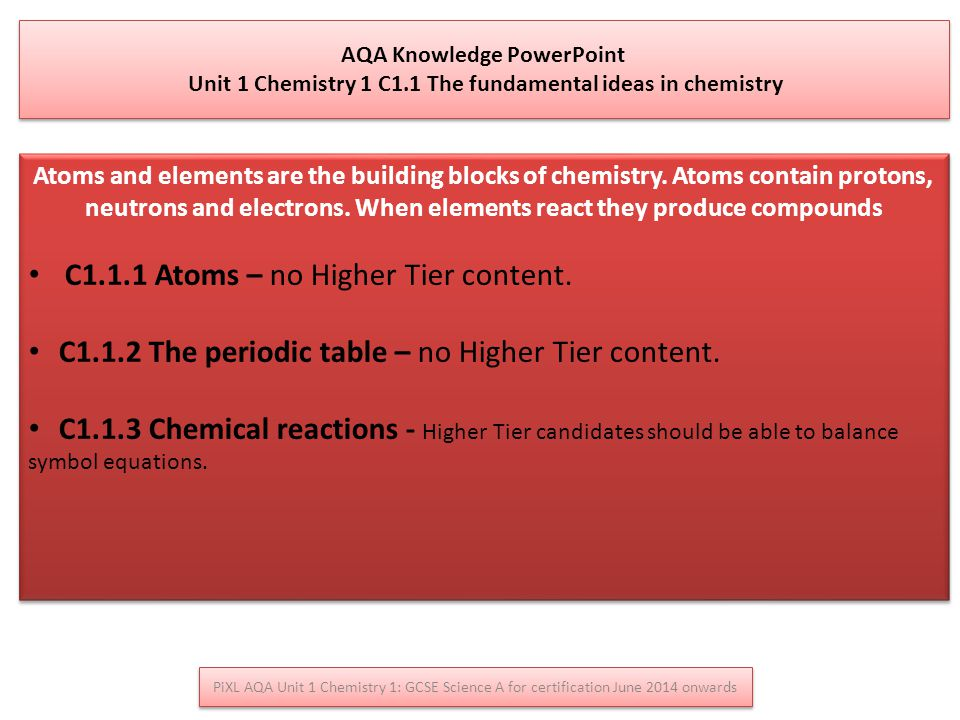 PiXL AQA Unit 1 Chemistry 1: GCSE Science A for certification June 2014 onwards AQA Knowledge PowerPoint Unit 1 Chemistry 1 C1.1 The fundamental ideas