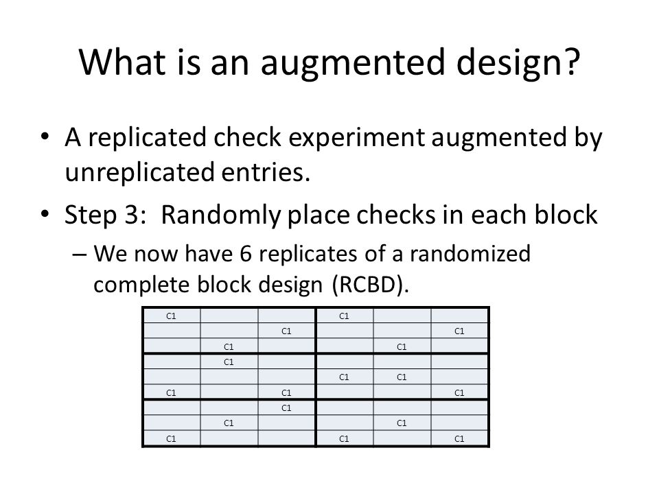 What is an augmented design. A replicated check experiment augmented by unreplicated entries.
