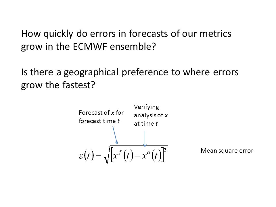 Verifying analysis of x at time t Forecast of x for forecast time t How quickly do errors in forecasts of our metrics grow in the ECMWF ensemble.