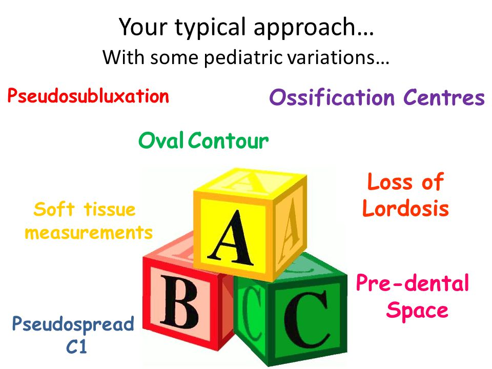 Your typical approach… Loss of Lordosis Oval Contour Pseudosubluxation Ossification Centres Pre-dental Space Pseudospread C1 Soft tissue measurements With some pediatric variations…