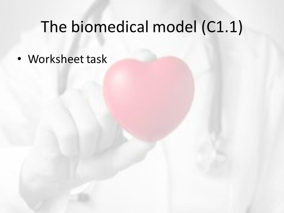 The biomedical model (C1.1) Worksheet task