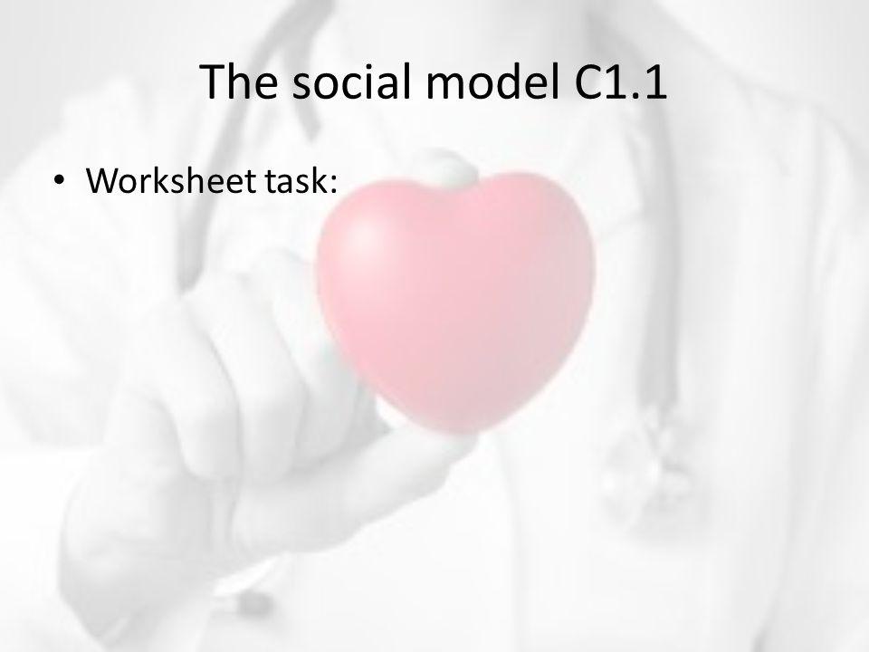 The social model C1.1 Worksheet task: