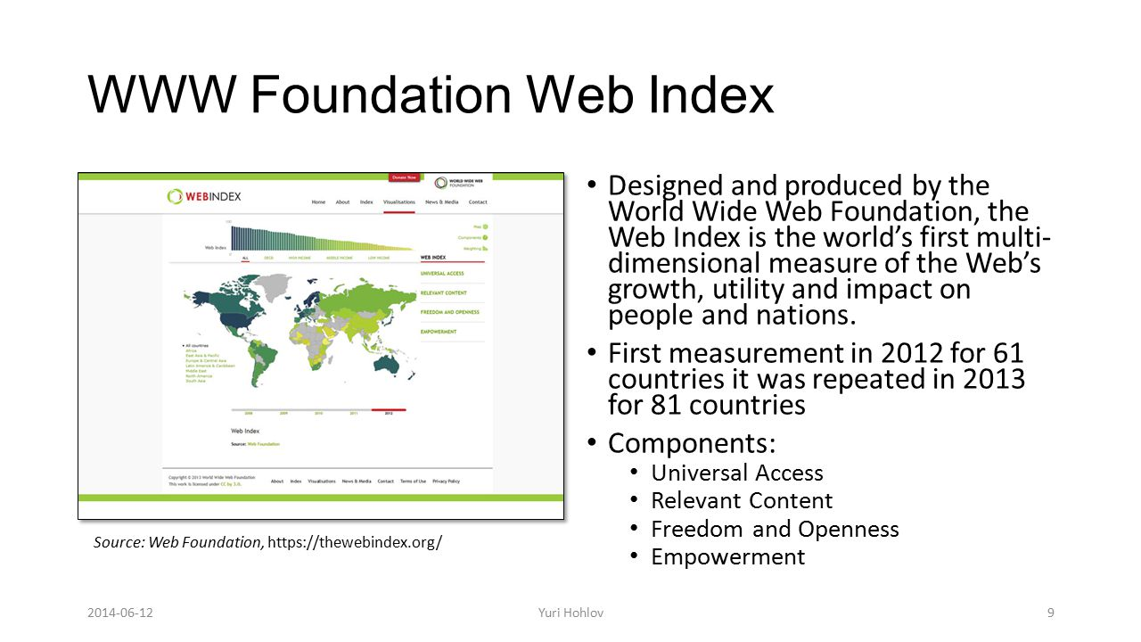 WWW Foundation Web Index Designed and produced by the World Wide Web Foundation, the Web Index is the world's first multi- dimensional measure of the Web's growth, utility and impact on people and nations.