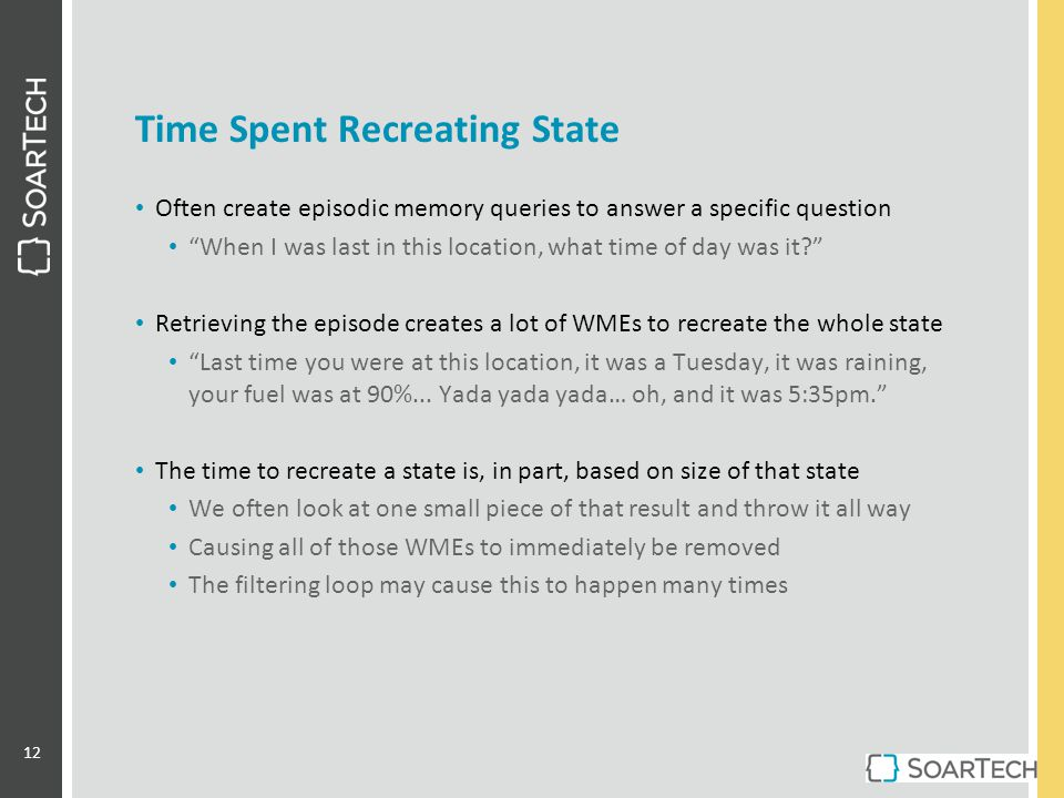 "Time Spent Recreating State Often create episodic memory queries to answer a specific question ""When I was last in this location, what time of day was"