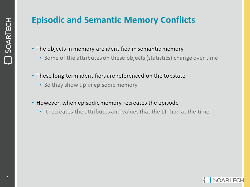 Episodic and Semantic Memory Conflicts The objects in memory are identified in semantic memory Some of the attributes on these objects (statistics) ch