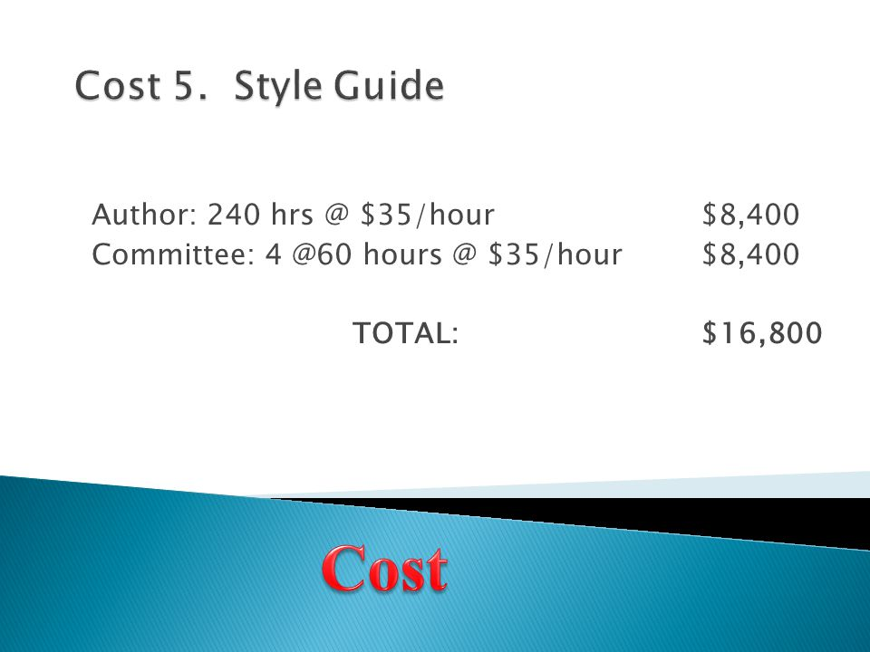 Author: 240 hrs @ $35/hour$8,400 Committee: 4 @60 hours @ $35/hour$8,400 TOTAL:$16,800