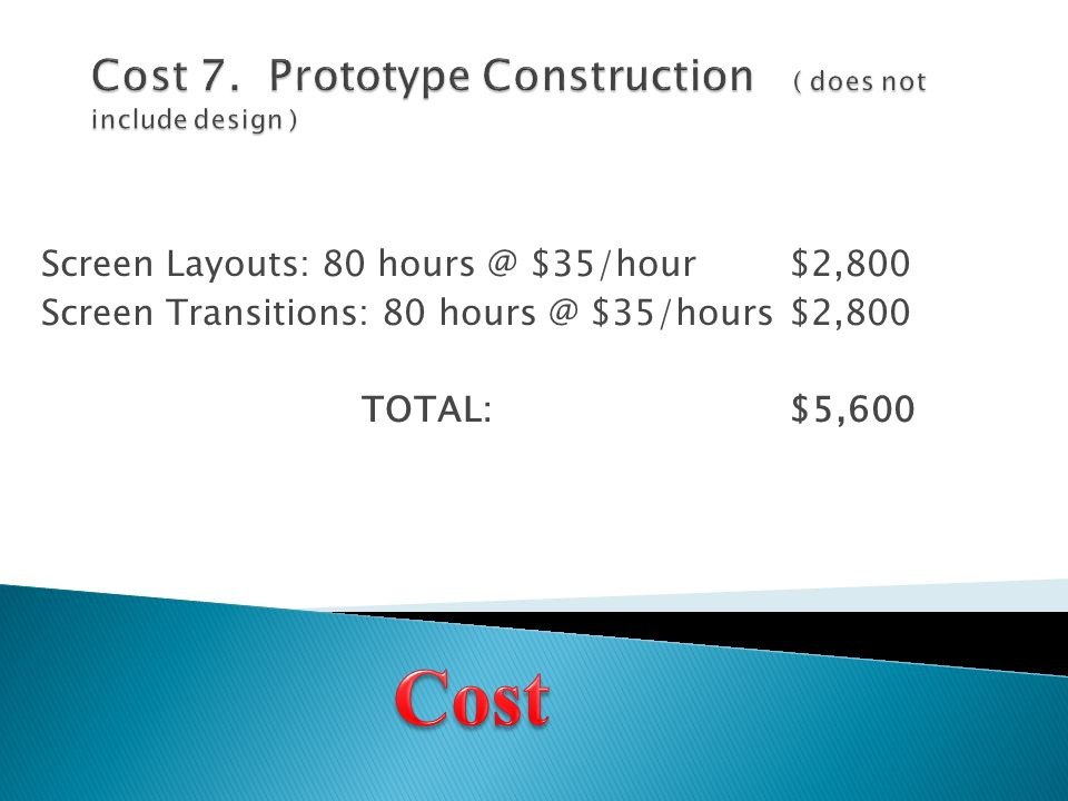 Screen Layouts: 80 hours @ $35/hour$2,800 Screen Transitions: 80 hours @ $35/hours$2,800 TOTAL:$5,600