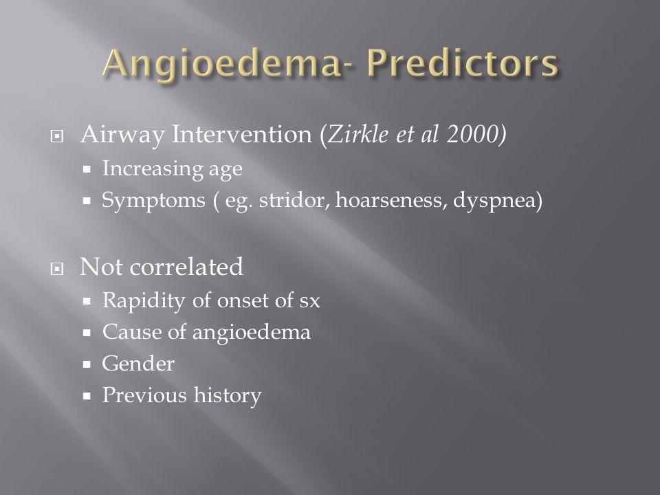  Airway Intervention ( Zirkle et al 2000)  Increasing age  Symptoms ( eg.