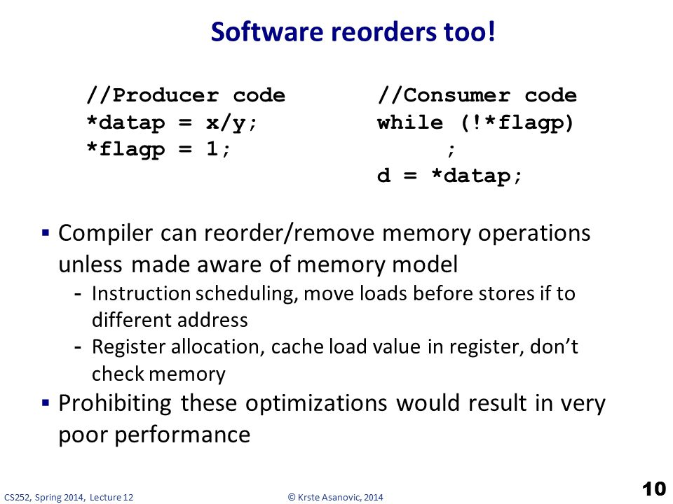 © Krste Asanovic, 2014CS252, Spring 2014, Lecture 12 Software reorders too.
