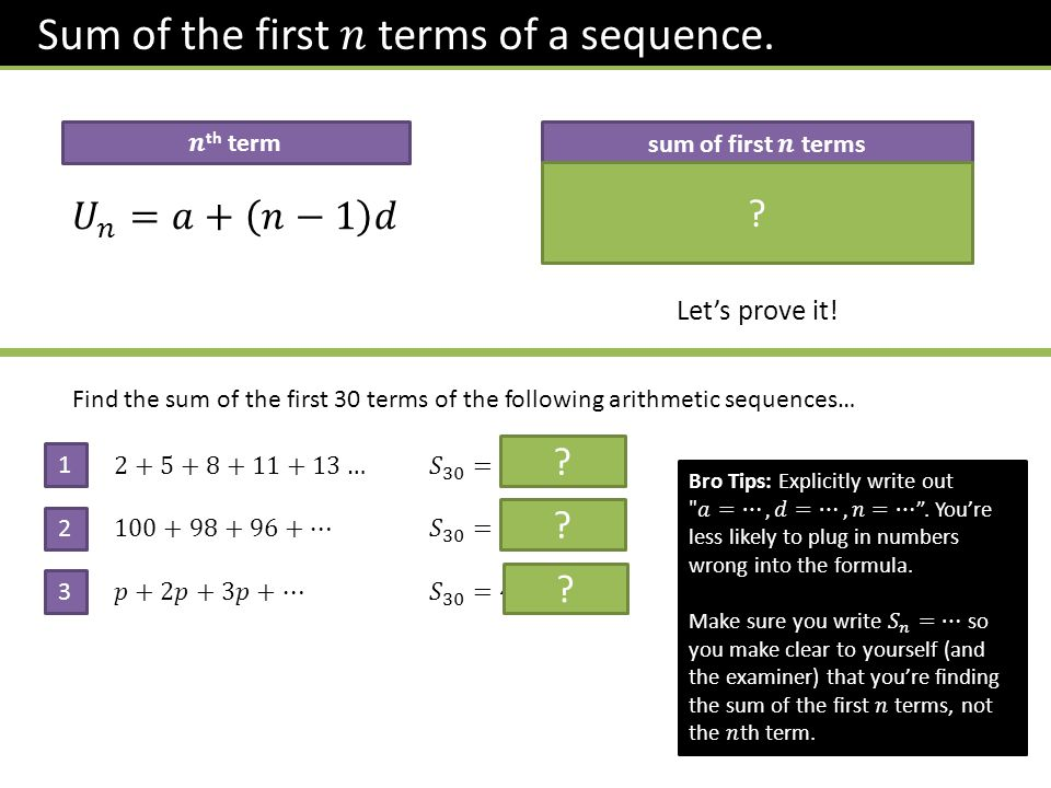 Let's prove it. Find the sum of the first 30 terms of the following arithmetic sequences… 1 2 3 .