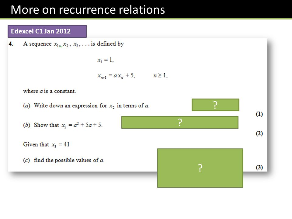 More on recurrence relations Edexcel C1 Jan 2012 ? ? ?