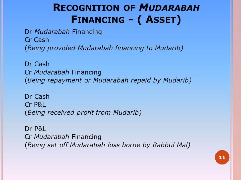 R ECOGNITION OF M UDARABAH F INANCING - ( A SSET ) Dr Mudarabah Financing Cr Cash (Being provided Mudarabah financing to Mudarib) Dr Cash Cr Mudarabah